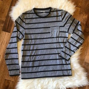 🖤Old Navy Men's Gray Striped Long Sleeve Tee S